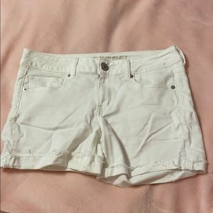 American Eagle White Distressed Jean Shorts